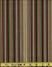 Upholstery Fabric   Cotton  Duck black tan multi stripe  sold by the yard
