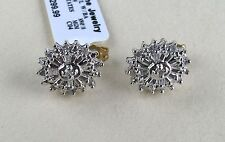 10k Y & W Gold Oval Diamond Earrings--Baguettes & Rounds .25 TCTW--Free Ship!