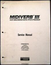 Alesis MidiVerb III Effects Unit Service Manual Booklet, Midi Verb 3