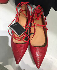 Zara Rouge en relief Lacets Ballet Pointed Flats Taille UK4 37