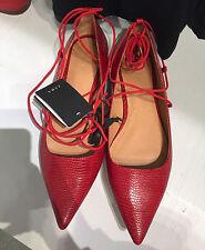 ZARA NEW Red Estampé à Lacets Ballerines Taille UK 5 38