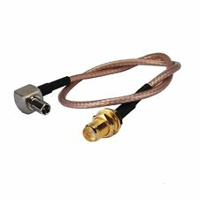 "6"" RF Rp-sma Female nut Straight to Ts9 Male Right Angle Extension coax Cable"