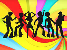 DISCO DANCERS PEOPLE SILHOUETTE EDIBLE ICING CAKE DECORATION IMAGE PARTY TOPPER