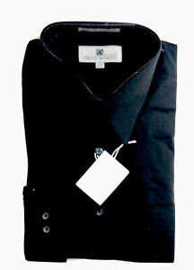 Italo Mondo Mens Shirt Black Dress or Casual Long Sleeve Button Up Sz 16 32/33