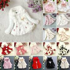 Kids Girls Fur Warmer Hooded Casual Coats Velvet Jacket Winter Outwear Dress AU