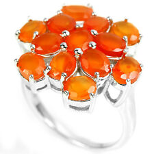 Sterling Silver 925 Genuine Natural Orange Fire Opal Ring Size R1/2 (US 9)