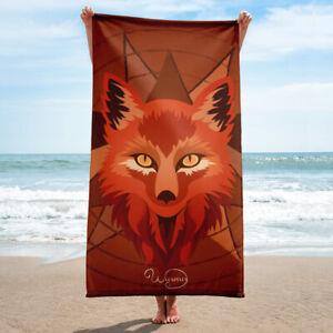 Beach or bathroom towel, Fox head geometric orange and brown