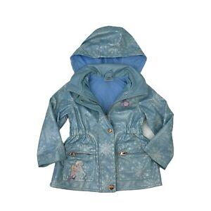 Frozen Movie Theme Jacket Girls Size 2 Blue Disney Elsa Full Zip Water Resistant