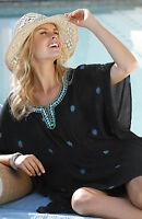 Ladies UK Size 12 - 14 Black Beaded Kaftan Kimono Tunic Top