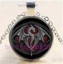 Silver Dragon Photo Cabochon Glass Tibet Silver Chain Pendant Necklace