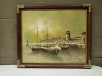 Oil Painting on Canvas Sail Boats Ships Lighthouse Nautical Signed 24x27.5 Frame