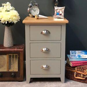 Oak Bedside Chest Grey Painted /Table / Light Oak /Solid Wood / Bedroom Grateley