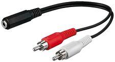 Audio Kabel Adapter Klinkenbuchse Klinke 3,5mm auf 2x Cinch Stecker 0,20m stereo