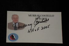 MURRAY COSTELLO SIGNED AUTOGRAPHED 3X5 INDEX CARD HOCKEY HALL OF FAME