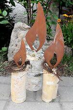 3tlg. Edelrost Flammen mit Dorn 10/15/20cm Gartendekoration Weihnachten