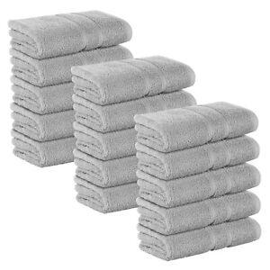 15x Hellgrau FROTTEE Badetuch 100 x 150 cm Badetücher 100% Baumwolle 500 g/m²