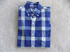 MENS J CREW SLIM LIGHT WEIGHT DRESS SHIRT BLUE YELLOW CHECK PLAID SIZE SMALL