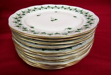 12 Herend Persil Green Parsley And Black Vines On White Lunch Plates - MINT