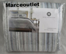 Hotel Collection Diamond Stripe 100% Cotton FULL / QUEEN Duvet Cover Gray