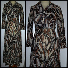 VINTAGE 70S JANICE WAINWRIGHT for SIMON MASSEY LUREX DAGGER COLLAR DRESS UK 8