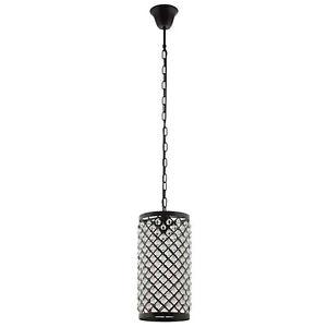 Modern Glass Metal Diamond Cut Out Cylindrical Black Pendant Chandelier Light