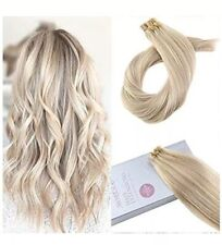 Moresoo 18 Inch Nail Tip Keratin Remy Human Hair Extension 613 BLEACH BLONDE