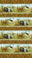Mountain Springs Border Stripe Animals Northcott Quilt Fabric by the 1/2 yard