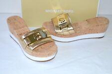 Michael Kors Warren Cork Platform Metallic Leather Pale Gold Sandal