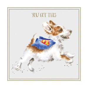Wrendale Designs You Got This Super Dog Blank Inside Greetings Card 12x12cm