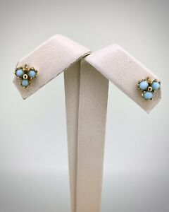 14K Yellow Gold Triple Cluster Stud Earrings with Turquoise and Friction Backs