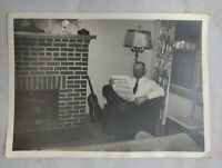 """Vintage Black and White Photo of Man Reading his Newspaper 7.5""""x5.5"""""""