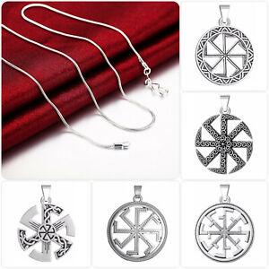 edle Halskette m. Sonnenrad Kolovrat Amulett Anhänger Slawisch Celtic Mythologie
