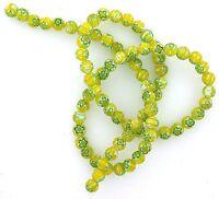 5mm Round Yellow Lime Green Lampwork Glass Flower Bead 15 Inch Strand 5MMGB3