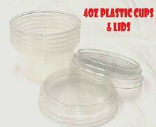 4oz H/Duty Clear Plastic Cups W/Lids- for Sauces,Desserts,condiments, disposable