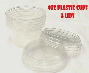 Clear Plastic Sauce Cups Lids 4oz Pots Round Container Deli Chutney Quality