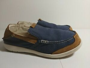 Crocs 202056 Men's Brown and Blue Canvas Loafers Size 9