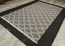Natural Handmade Geometric Cotton Rug Rectangle Grey Color 5x8 Feet