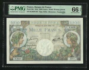 France : 1000 Francs (6-7-1944) ; PMG : Gem UNC 66 ; EPQ