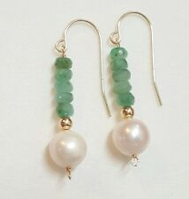 14k solid gold freshwater pearl and 2ct emerald earrings