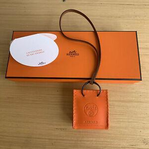 Hermes Orange Sac Bag Charm - 100% Authentic With Box & Ribbon