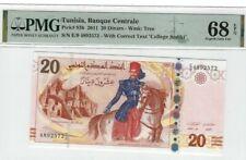 2011 TUNISIA 20 Dinars PMG68 EPQ SUPERB GEM UNC Banque Centrale deTunisie[P-93b]