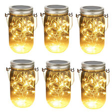 6pcs Solar 20 Led Mason Jar String Hanging Light Garden Xmas Table Decor Lantern