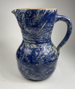 Large 1995 Jerry Brown Pottery Pitcher Hamilton, Alabama Cobalt Blue Glaze 8-3/8
