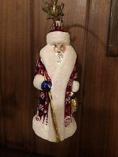 Christopher Radko Ornament Santa Carrying Gold Bag And Staff