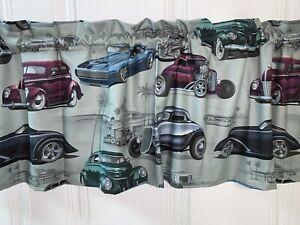 Antique Cars Vintage Vehicles Valance Curtain 42x14 Window Topper Man Cave