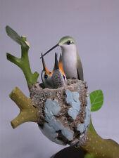 Ruby-throated Hummingbird (F) & Babies Carving/Birdhug