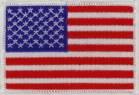"""3 Pcs USA American Flag (W) Embroidered Patches 3""""x2"""" iron-on"""