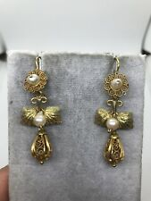 Antique 14k yellow green gold filigree pearl dangle earrings leaf foliage floral