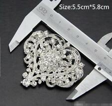 Flower Austrian Crystal Brooch Pin Clear Silver Tone Bride Wedding Love Heart