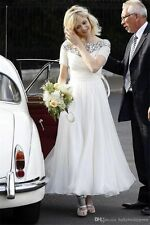 Tea Length Wedding Dresses Plus Size Short Sleeve Bridal Gowns Custom all size